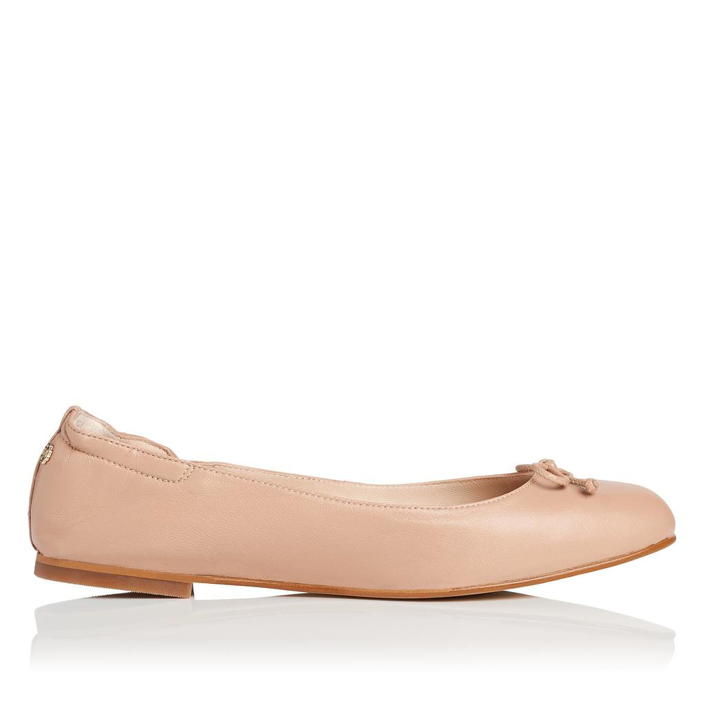 Thea Trench Flat Ballet Pump Neutral Trench - predominant colour: nude; occasions: casual; material: leather; heel height: flat; toe: round toe; style: ballerinas / pumps; finish: plain; pattern: plain; embellishment: bow; season: s/s 2016
