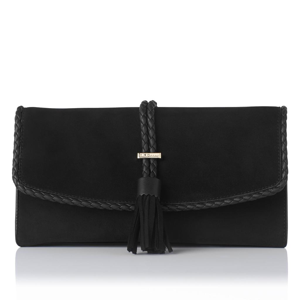Tracy Black Suede Clutch Black - predominant colour: black; occasions: evening; type of pattern: standard; style: clutch; length: hand carry; size: small; material: suede; embellishment: fringing; pattern: plain; finish: plain; season: s/s 2016