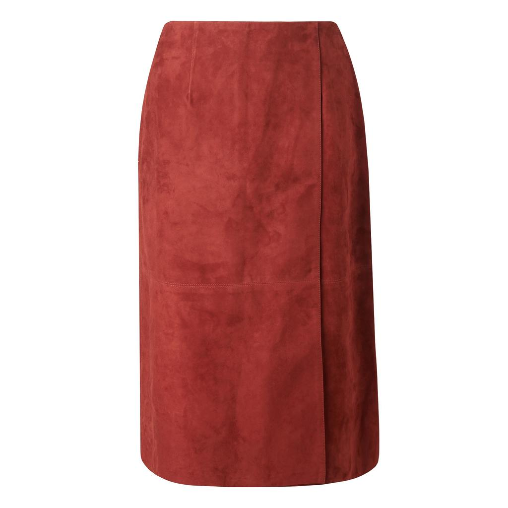 Riley Suede Wrap Skirt - pattern: plain; style: pencil; fit: tailored/fitted; waist: mid/regular rise; predominant colour: terracotta; occasions: evening; length: on the knee; fibres: leather - 100%; pattern type: fabric; texture group: suede; season: s/s 2016; wardrobe: event