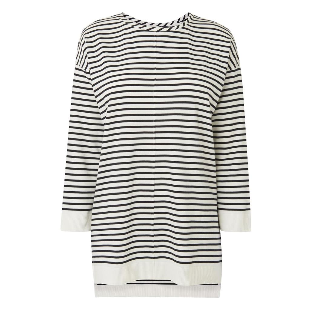 Monika Striped T Shirt - pattern: horizontal stripes; length: below the bottom; style: t-shirt; predominant colour: ivory/cream; secondary colour: black; occasions: casual; fibres: cotton - mix; fit: loose; neckline: crew; sleeve length: long sleeve; sleeve style: standard; pattern type: fabric; texture group: jersey - stretchy/drapey; multicoloured: multicoloured; season: s/s 2016; wardrobe: basic