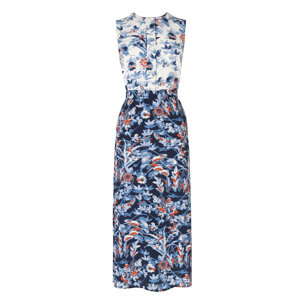 Tiggy Floral Print Dress Blue Sloane Blue - sleeve style: sleeveless; style: maxi dress; length: ankle length; secondary colour: white; predominant colour: navy; occasions: casual; fit: body skimming; fibres: viscose/rayon - 100%; neckline: crew; sleeve length: sleeveless; pattern type: fabric; pattern size: big & busy; pattern: florals; texture group: other - light to midweight; multicoloured: multicoloured; season: s/s 2016; wardrobe: highlight