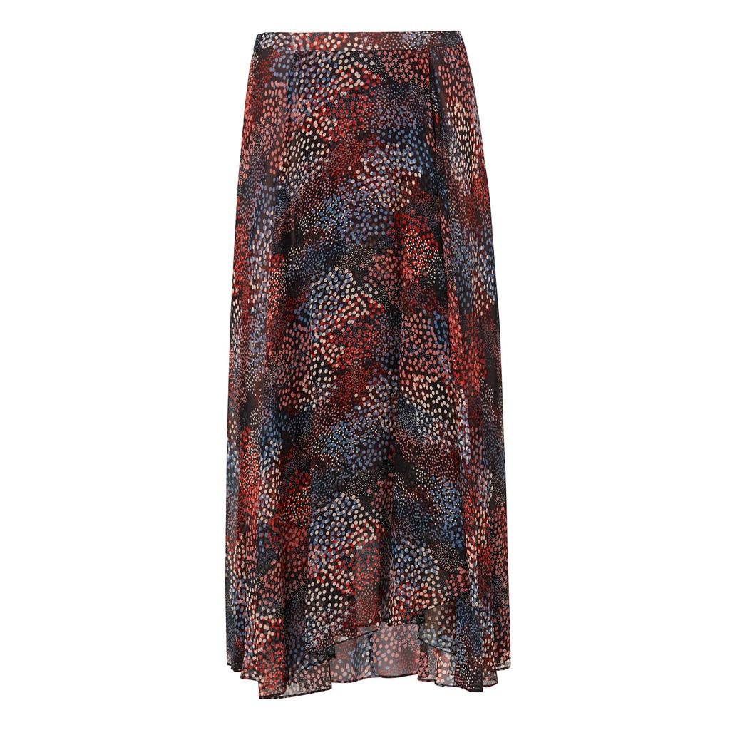 Cami Silk Printed Skirt Multi Black - length: ankle length; fit: body skimming; waist: mid/regular rise; predominant colour: burgundy; secondary colour: navy; occasions: casual, evening; style: maxi skirt; fibres: silk - 100%; pattern type: fabric; pattern: patterned/print; texture group: other - light to midweight; multicoloured: multicoloured; season: s/s 2016; wardrobe: highlight