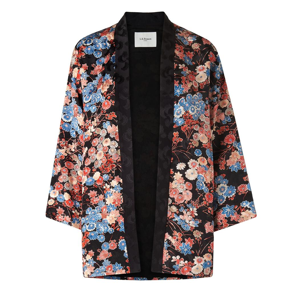 Carrie Kimono Printed Jacket Multi Black - collar: round collar/collarless; fit: loose; secondary colour: pink; predominant colour: black; occasions: casual; length: standard; fibres: silk - 100%; sleeve length: long sleeve; sleeve style: standard; collar break: low/open; pattern type: fabric; pattern: florals; texture group: other - light to midweight; style: fluid/kimono; multicoloured: multicoloured; season: s/s 2016