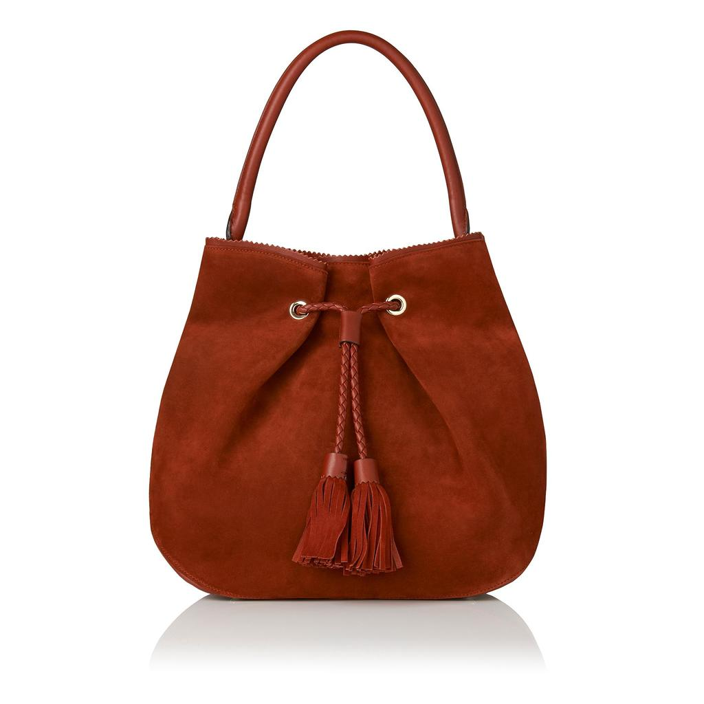 Thelma Leather Tote Bag Brown Rust - predominant colour: terracotta; occasions: casual; type of pattern: standard; style: shoulder; length: shoulder (tucks under arm); size: standard; material: leather; embellishment: tassels; pattern: plain; finish: plain; season: s/s 2016; wardrobe: highlight