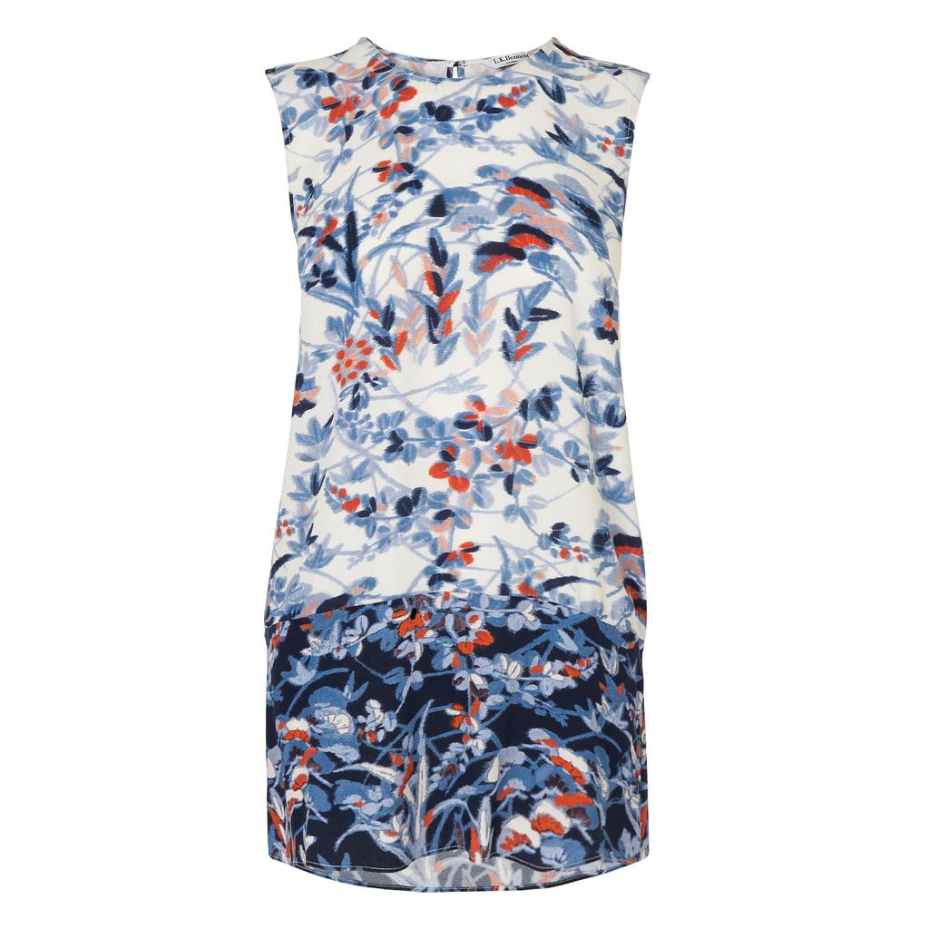 Tiggy Floral Print Top Blue Sloane Blue - sleeve style: sleeveless; predominant colour: white; secondary colour: navy; occasions: casual; length: standard; style: top; fibres: viscose/rayon - 100%; fit: body skimming; neckline: crew; sleeve length: sleeveless; pattern type: fabric; pattern size: standard; pattern: patterned/print; texture group: woven light midweight; multicoloured: multicoloured; season: s/s 2016; wardrobe: highlight