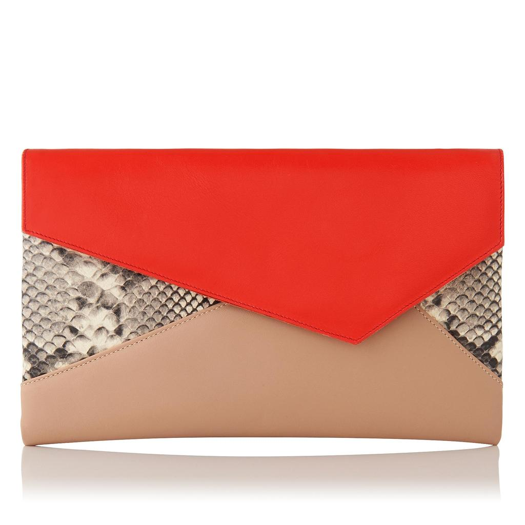 Lola Contrast Leather Clutch - predominant colour: bright orange; secondary colour: nude; occasions: evening; type of pattern: light; style: clutch; length: hand carry; size: small; material: leather; pattern: animal print; finish: plain; multicoloured: multicoloured; season: s/s 2016; wardrobe: event