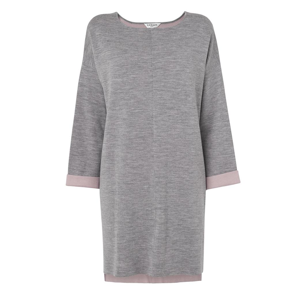 Fawna Fine Knit Tunic Grey Grey Melange - pattern: plain; length: below the bottom; style: tunic; predominant colour: light grey; occasions: casual; fibres: wool - mix; fit: loose; neckline: crew; sleeve length: 3/4 length; sleeve style: standard; pattern type: fabric; texture group: jersey - stretchy/drapey; season: s/s 2016; wardrobe: highlight