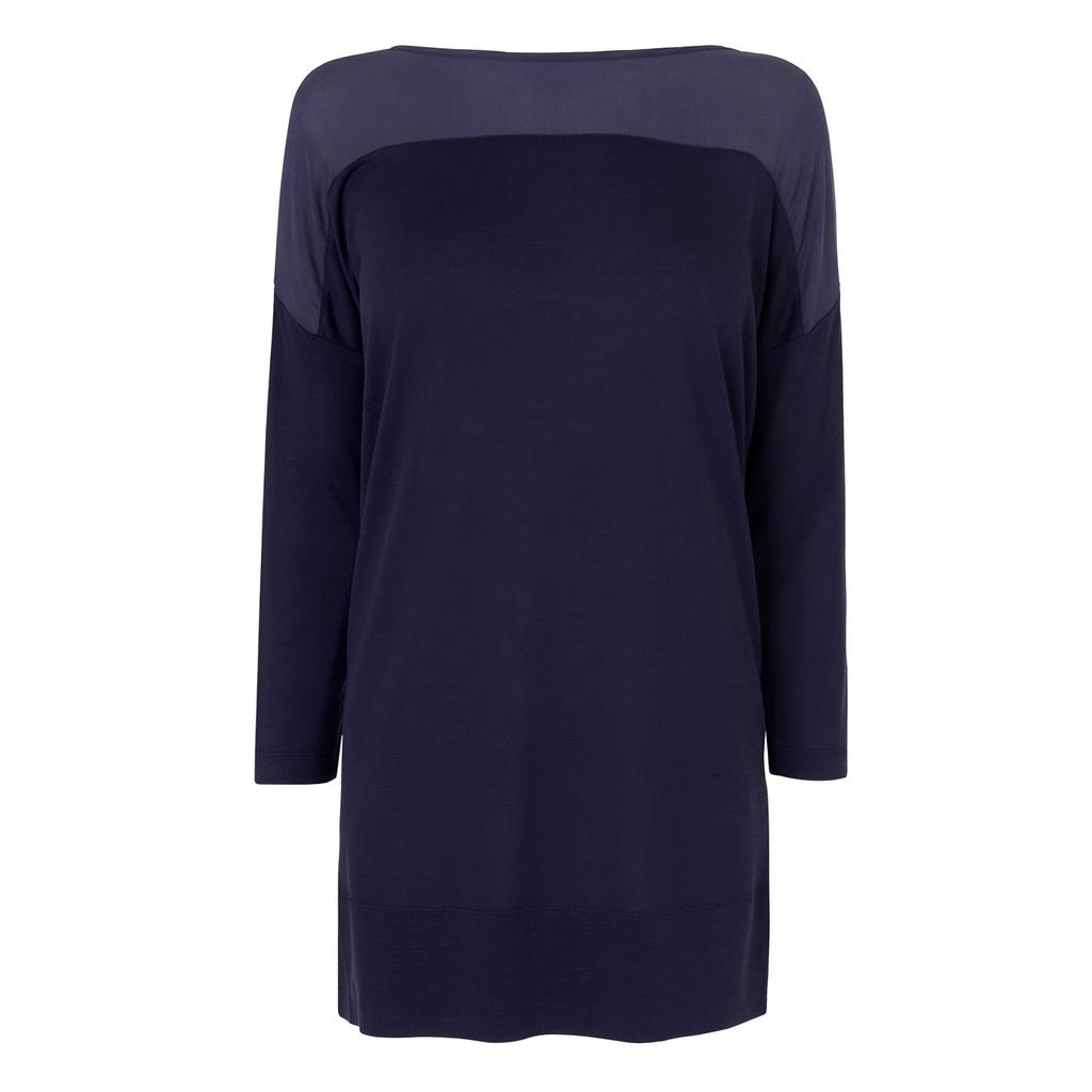 Olenna Navy Tunic Blue Sloane Blue - neckline: slash/boat neckline; pattern: plain; length: below the bottom; style: tunic; predominant colour: navy; occasions: casual; fibres: silk - 100%; fit: body skimming; sleeve length: long sleeve; sleeve style: standard; texture group: silky - light; pattern type: fabric; season: s/s 2016; wardrobe: basic