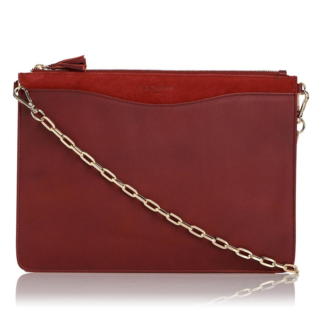Rachel Suede Leather Pouch Brown Rust - predominant colour: burgundy; occasions: evening; type of pattern: standard; style: clutch; length: hand carry; size: small; material: leather; pattern: plain; finish: plain; embellishment: chain/metal; season: s/s 2016; wardrobe: event