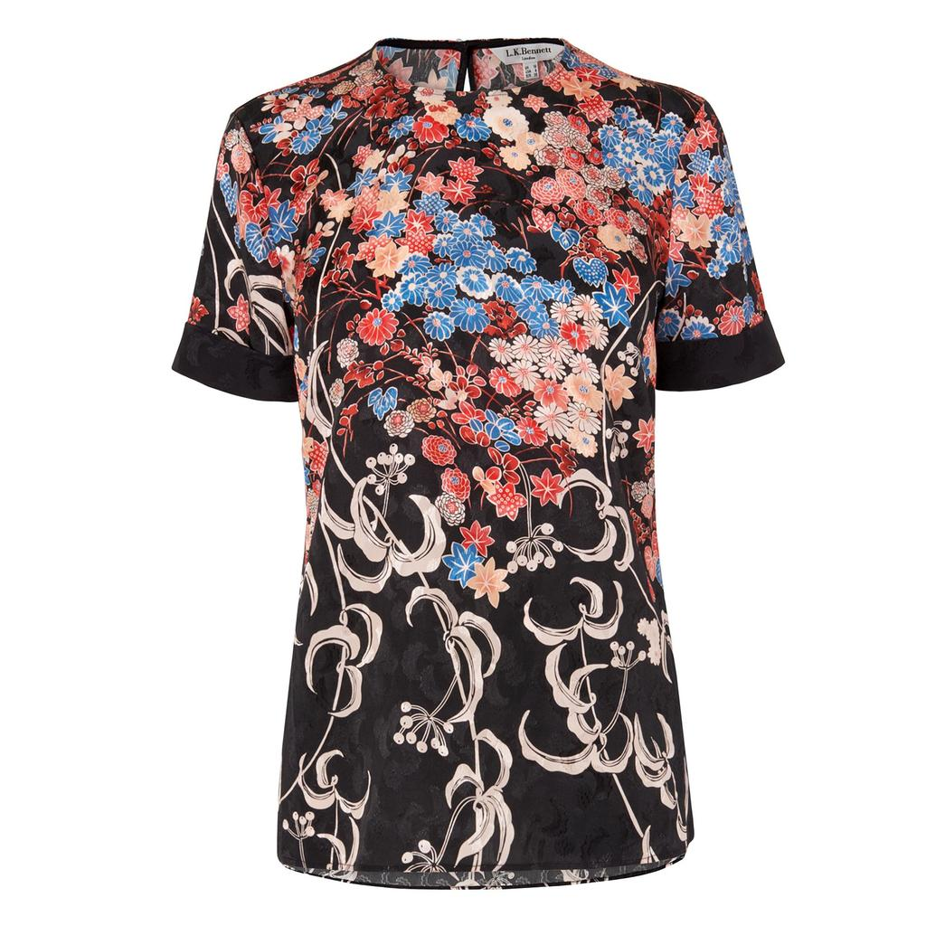 Darcie Silk Printed Top - secondary colour: pale blue; predominant colour: black; occasions: casual; length: standard; style: top; fibres: silk - 100%; fit: body skimming; neckline: crew; sleeve length: short sleeve; sleeve style: standard; texture group: silky - light; pattern type: fabric; pattern: florals; pattern size: big & busy (top); multicoloured: multicoloured; season: s/s 2016; wardrobe: highlight