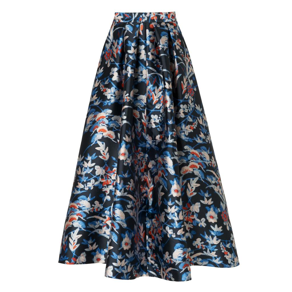 Tansia Printed Midi Skirt Multi Sloane Blue - length: below the knee; style: full/prom skirt; fit: loose/voluminous; waist: mid/regular rise; secondary colour: pale blue; predominant colour: navy; occasions: evening; fibres: polyester/polyamide - stretch; pattern type: fabric; pattern: florals; texture group: woven light midweight; pattern size: big & busy (bottom); multicoloured: multicoloured; season: s/s 2016; trends: vintage chic