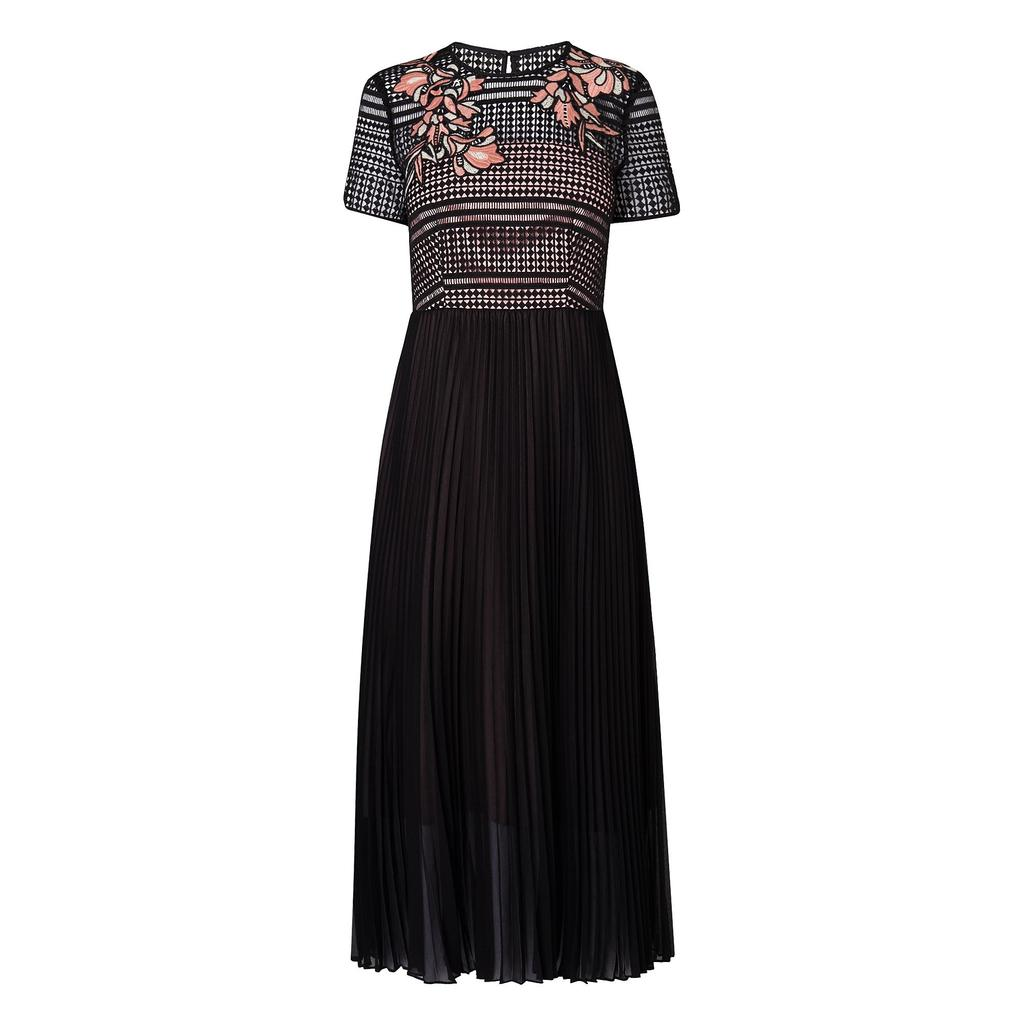 Efina Black Embroidered Dress Black - style: maxi dress; length: ankle length; secondary colour: nude; predominant colour: black; occasions: evening; fit: body skimming; fibres: polyester/polyamide - 100%; neckline: crew; sleeve length: short sleeve; sleeve style: standard; texture group: lace; pattern type: fabric; pattern: patterned/print; embellishment: embroidered; season: s/s 2016; trends: new romantics; wardrobe: event
