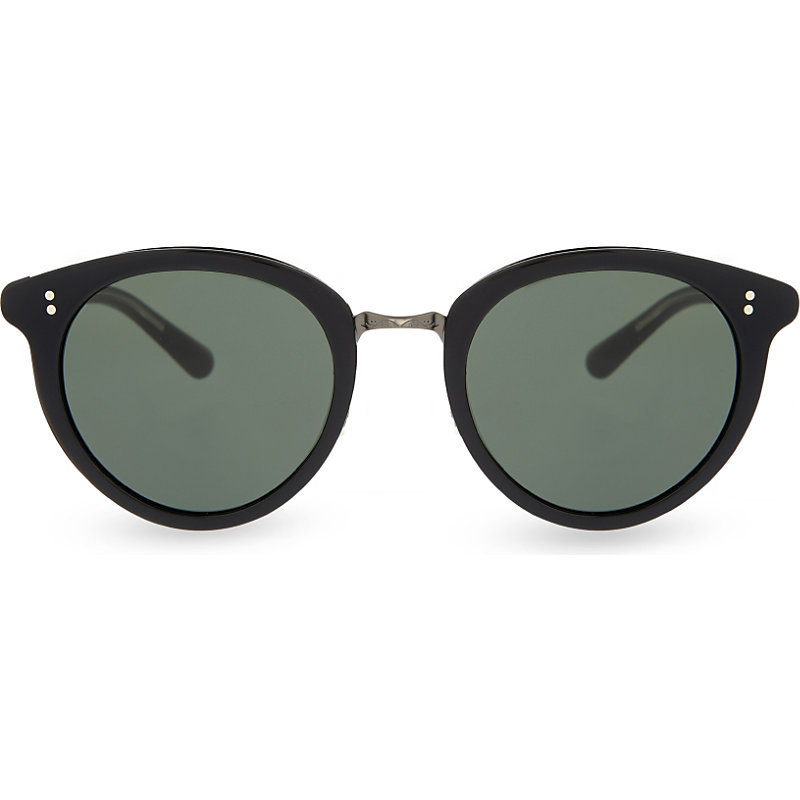 Spelman Ov5323 S Round Frame Sunglasses, Women's, Black - predominant colour: black; occasions: casual, holiday; style: round; size: standard; material: plastic/rubber; pattern: plain; finish: plain; season: s/s 2016; wardrobe: basic