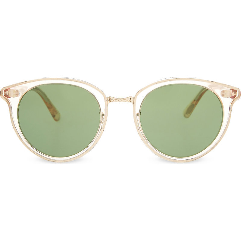 Spelman Ov5323 S Round Frame Sunglasses, Women's, Honey - predominant colour: ivory/cream; occasions: casual, holiday; style: cateye; size: standard; material: plastic/rubber; pattern: plain; finish: plain; season: s/s 2016; wardrobe: basic