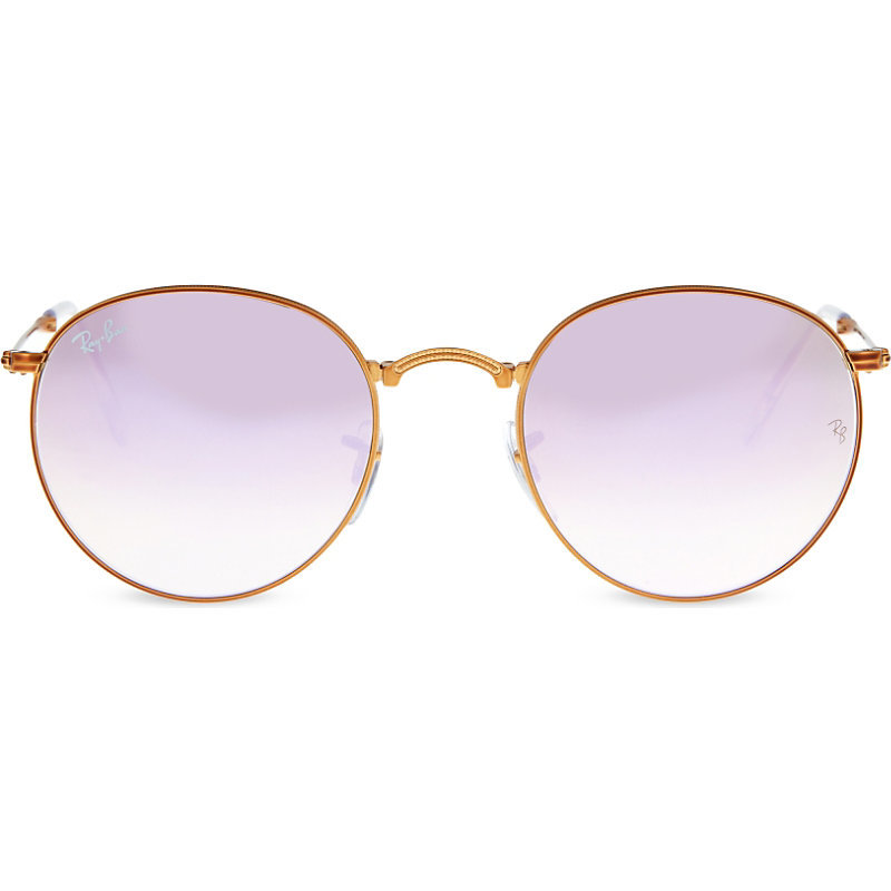 Rb3532 Folding Round Frame Sunglasses, Women's, Shiny Bronze - predominant colour: gold; occasions: casual, holiday; style: round; size: standard; material: chain/metal; pattern: plain; finish: metallic; season: s/s 2016; wardrobe: basic