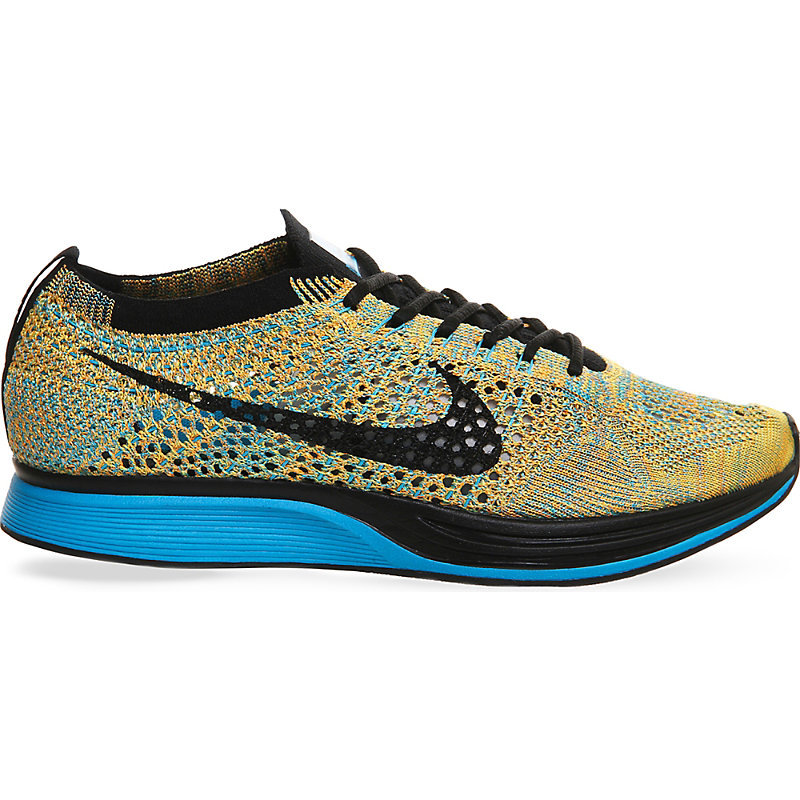 Flyknit Racer Knitted Trainers, Women's, 5.5, Citrus Blue Sherbet - predominant colour: yellow; secondary colour: black; season: s/s 2016; style: trainers; heel: regular trainer; heel height: flat; activities: run; pattern: plain; type of pattern: light/subtle; material: technical fabric; finish: plain