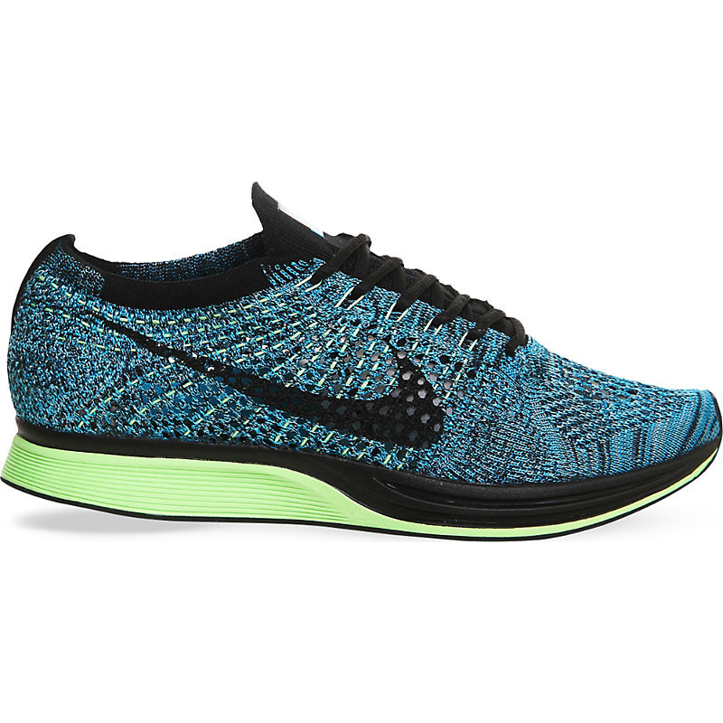 Flyknit Racer Knitted Trainers, Women's, 5.5, Blue Lagoon - predominant colour: turquoise; secondary colour: black; season: s/s 2016; style: trainers; heel: regular trainer; heel height: flat; activities: run; pattern: patterned/print; type of pattern: light/subtle; material: technical fabric; finish: plain