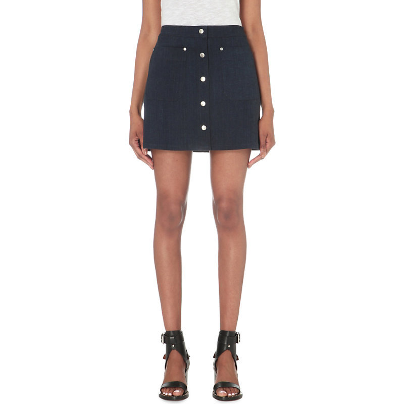 Siggy Denim Skirt, Women's, Royal Blue - length: mini; pattern: plain; fit: body skimming; waist: high rise; predominant colour: navy; occasions: casual; style: mini skirt; fibres: cotton - mix; texture group: denim; pattern type: fabric; season: s/s 2016; wardrobe: basic