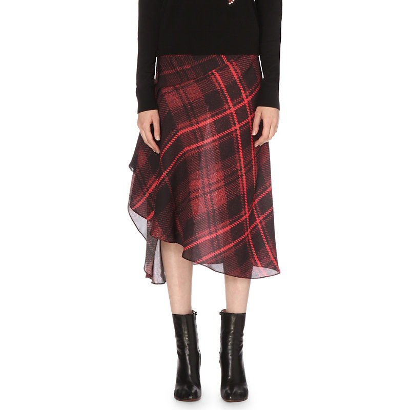 Asymmetric Silk Skirt, Women's, Red Tartan - length: below the knee; pattern: checked/gingham; fit: body skimming; waist: mid/regular rise; predominant colour: true red; secondary colour: black; style: asymmetric (hem); fibres: silk - mix; occasions: occasion, creative work; hip detail: ruching/gathering at hip; texture group: silky - light; pattern type: fabric; pattern size: big & busy (bottom); season: s/s 2016