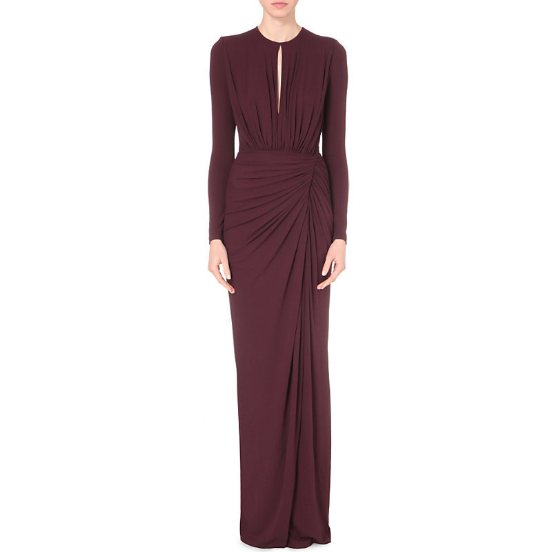 Draped Detail Jersey Gown, Women's, Maroon - style: ballgown; pattern: plain; predominant colour: aubergine; occasions: evening; length: floor length; fit: body skimming; neckline: peep hole neckline; sleeve length: long sleeve; sleeve style: standard; pattern type: fabric; texture group: jersey - stretchy/drapey; fibres: viscose/rayon - mix; season: s/s 2016; wardrobe: event