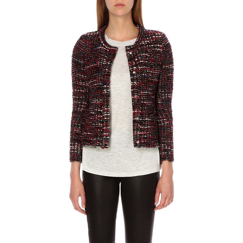 Carene Woven Jacket, Women's, Red Black - pattern: plain; style: single breasted blazer; collar: round collar/collarless; predominant colour: black; occasions: work, creative work; length: standard; fit: tailored/fitted; fibres: acrylic - mix; sleeve length: long sleeve; sleeve style: standard; collar break: high; pattern type: fabric; texture group: woven light midweight; secondary colour: raspberry; multicoloured: multicoloured; season: s/s 2016; wardrobe: investment