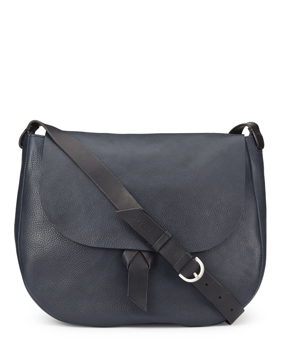 Maud Saddle Bag - predominant colour: navy; occasions: casual, creative work; type of pattern: standard; style: saddle; length: across body/long; size: standard; material: leather; pattern: plain; finish: plain; season: s/s 2016; wardrobe: basic