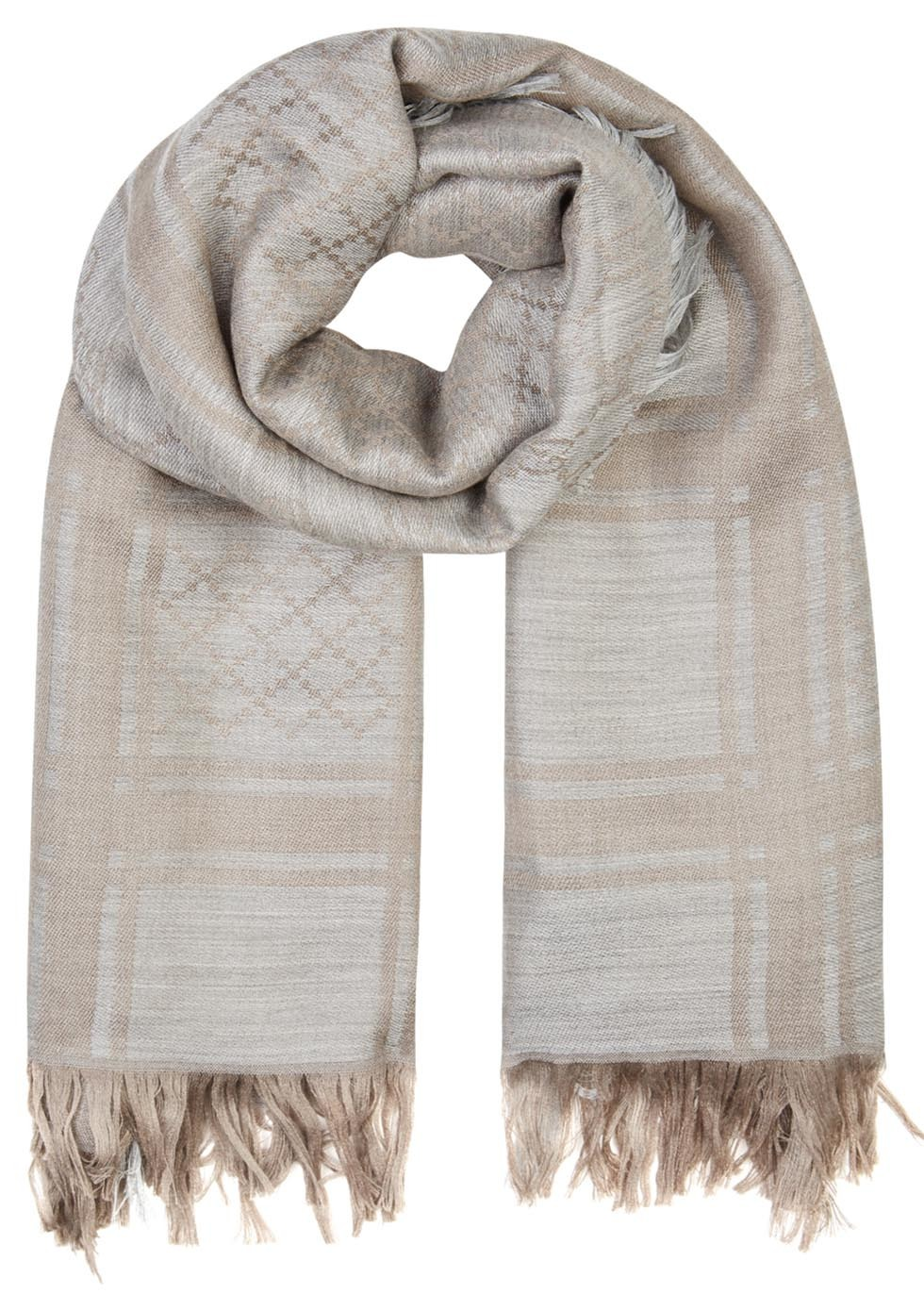 Survie Taupe Monogrammed Wool Blend Scarf - predominant colour: silver; secondary colour: gold; occasions: casual; type of pattern: standard; style: regular; size: standard; material: fabric; embellishment: fringing; pattern: patterned/print; season: s/s 2016; wardrobe: highlight