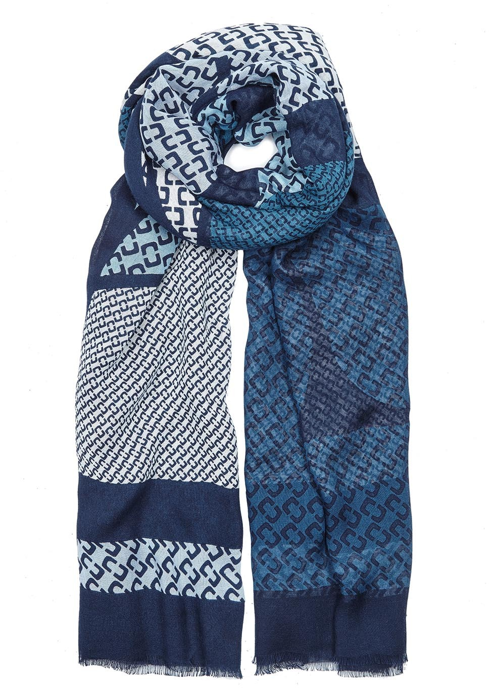 Grace Blue Printed Modal Blend Scarf - secondary colour: navy; predominant colour: turquoise; occasions: casual, creative work; type of pattern: standard; style: regular; size: standard; material: fabric; pattern: patterned/print; season: s/s 2016; wardrobe: highlight