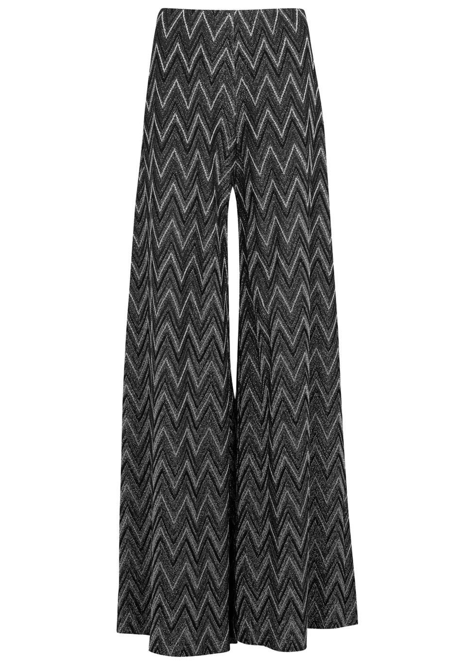 Metallic Zigzag Wide Leg Trousers - length: standard; waist: mid/regular rise; predominant colour: charcoal; secondary colour: light grey; occasions: casual; fibres: cotton - mix; fit: wide leg; pattern type: fabric; pattern: patterned/print; texture group: jersey - stretchy/drapey; style: standard; multicoloured: multicoloured; season: s/s 2016; wardrobe: highlight