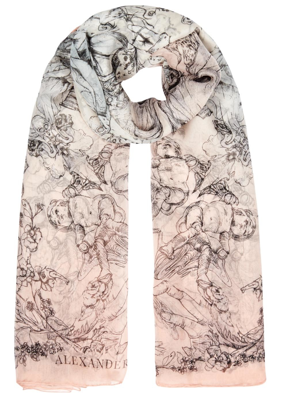 Paris Wallpaper Silk Chiffon Scarf - predominant colour: blush; secondary colour: black; occasions: casual, creative work; type of pattern: standard; style: regular; size: standard; material: fabric; pattern: patterned/print; season: s/s 2016; wardrobe: highlight