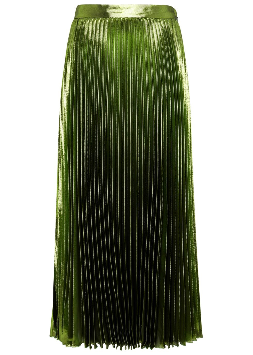 Green Silk Blend Lamé Skirt - pattern: plain; length: ankle length; fit: body skimming; style: pleated; waist: mid/regular rise; predominant colour: dark green; occasions: evening; fibres: silk - mix; texture group: silky - light; pattern type: fabric; season: s/s 2016; wardrobe: event