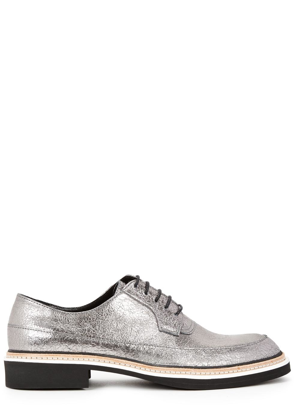 Columbia Silver Leather Derby Shoes - predominant colour: silver; occasions: casual, creative work; material: leather; heel height: flat; toe: round toe; finish: metallic; pattern: plain; style: lace ups; season: s/s 2016; wardrobe: basic