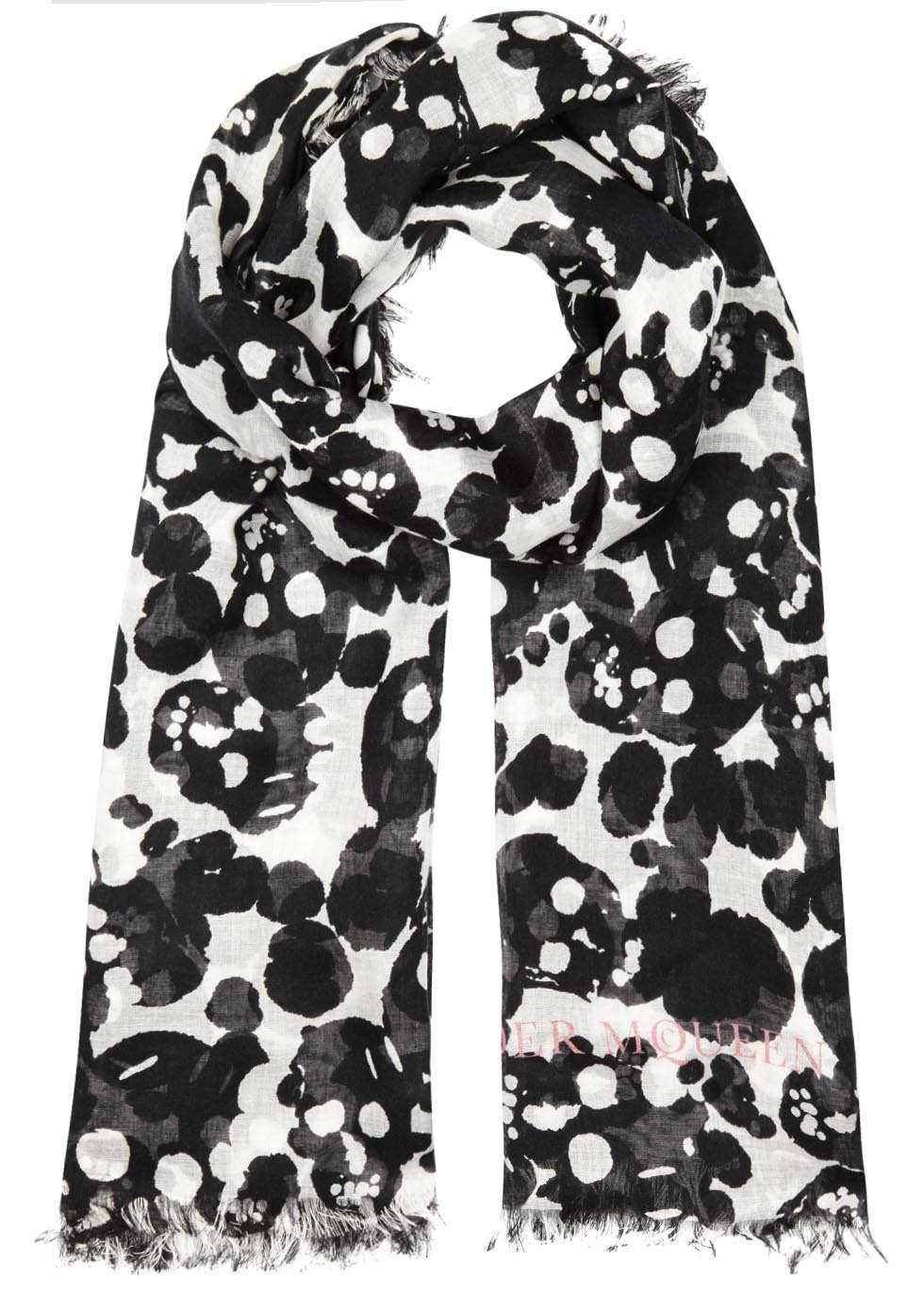 Camouflage Skull Black Silk Blend Scarf - secondary colour: white; predominant colour: black; occasions: casual; type of pattern: heavy; style: regular; size: standard; material: silk; pattern: patterned/print; season: s/s 2016; wardrobe: highlight