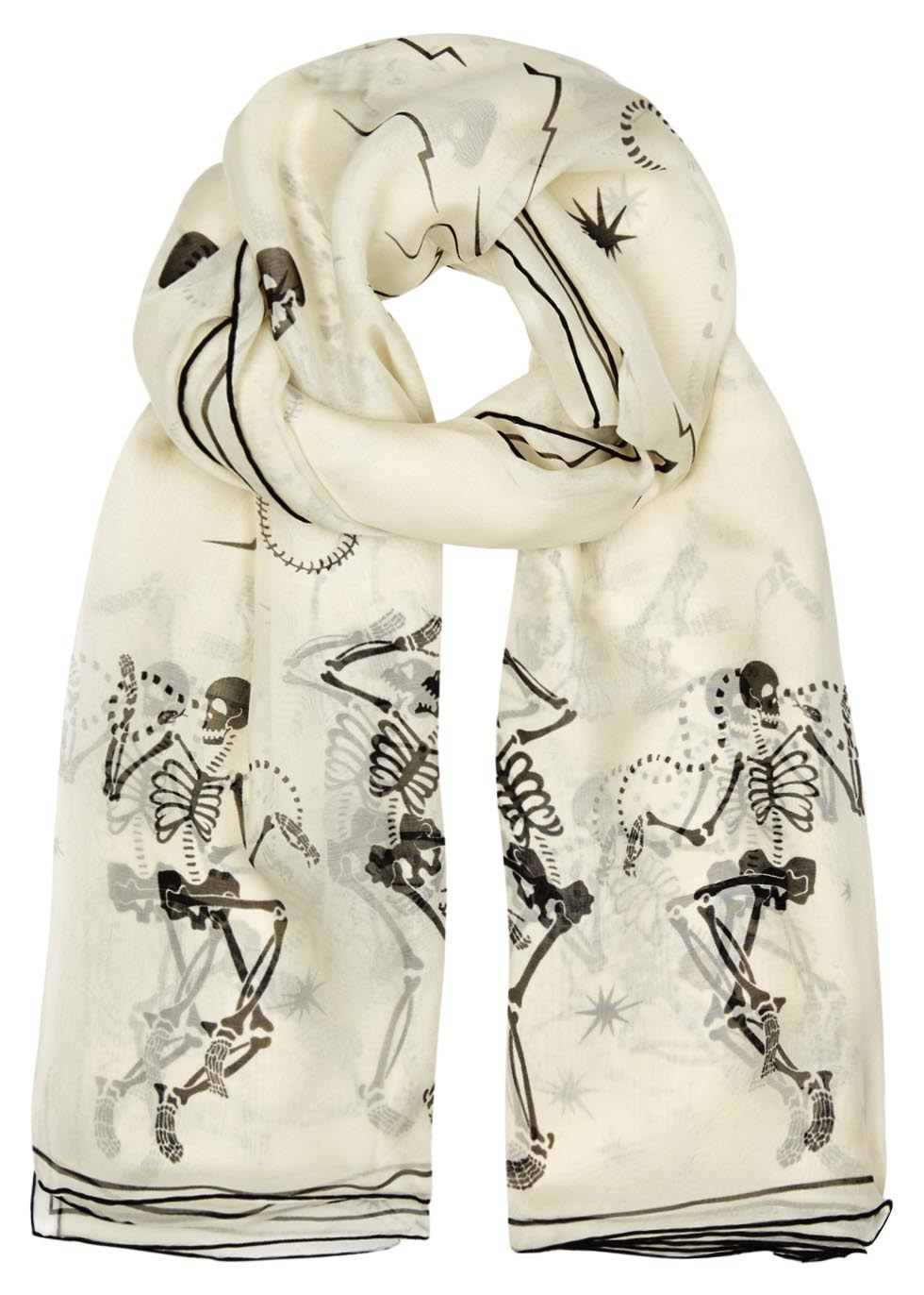 Funny Bones Printed Silk Chiffon Scarf - predominant colour: ivory/cream; secondary colour: black; occasions: casual; type of pattern: heavy; style: regular; size: standard; material: silk; pattern: patterned/print; season: s/s 2016