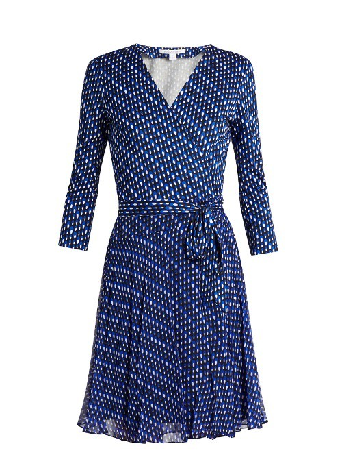 Irina Dress - style: faux wrap/wrap; neckline: v-neck; waist detail: belted waist/tie at waist/drawstring; secondary colour: white; predominant colour: navy; occasions: evening; length: just above the knee; fit: body skimming; fibres: silk - 100%; sleeve length: long sleeve; sleeve style: standard; texture group: sheer fabrics/chiffon/organza etc.; pattern type: fabric; pattern: patterned/print; multicoloured: multicoloured; season: s/s 2016; wardrobe: event