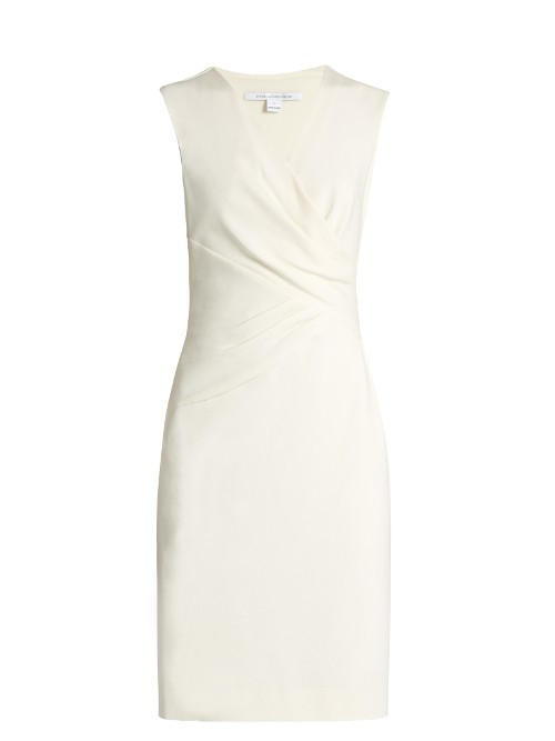 Leora Dress - style: faux wrap/wrap; neckline: v-neck; pattern: plain; sleeve style: sleeveless; predominant colour: white; occasions: evening; length: just above the knee; fit: body skimming; fibres: silk - 100%; sleeve length: sleeveless; texture group: crepes; pattern type: fabric; season: s/s 2016