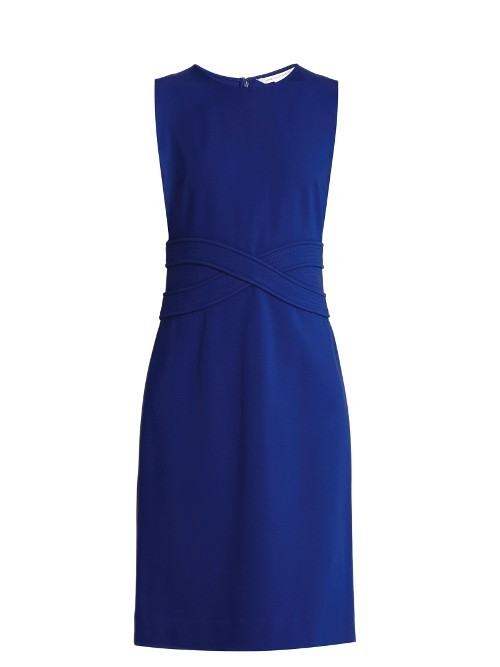 Evita Dress - style: shift; fit: tailored/fitted; pattern: plain; sleeve style: sleeveless; predominant colour: royal blue; occasions: evening; length: just above the knee; fibres: viscose/rayon - stretch; neckline: crew; sleeve length: sleeveless; texture group: crepes; pattern type: fabric; season: s/s 2016; wardrobe: event