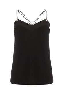 Eyelet Cami - neckline: v-neck; sleeve style: spaghetti straps; pattern: plain; style: camisole; predominant colour: black; occasions: casual; length: standard; fibres: polyester/polyamide - 100%; fit: body skimming; sleeve length: sleeveless; texture group: crepes; pattern type: fabric; season: s/s 2016; wardrobe: basic