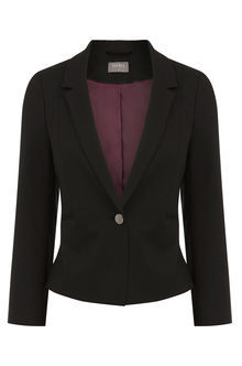 Petite Clara Workwear Jacket - pattern: plain; style: single breasted blazer; collar: standard lapel/rever collar; predominant colour: black; occasions: work, occasion; length: standard; fit: tailored/fitted; fibres: polyester/polyamide - mix; sleeve length: long sleeve; sleeve style: standard; collar break: medium; pattern type: fabric; texture group: woven light midweight; season: s/s 2016; wardrobe: investment