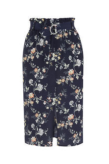 Sashiko Belted Skirt - style: pencil; fit: tailored/fitted; waist: high rise; predominant colour: navy; length: on the knee; fibres: polyester/polyamide - 100%; pattern type: fabric; pattern: florals; texture group: other - light to midweight; occasions: creative work; pattern size: big & busy (bottom); season: s/s 2016