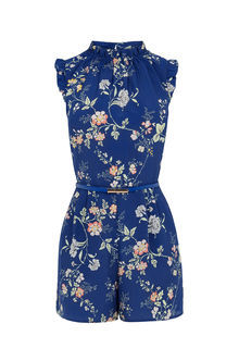 Sashiko Playsuit - neckline: round neck; fit: tailored/fitted; sleeve style: sleeveless; waist detail: belted waist/tie at waist/drawstring; length: short shorts; predominant colour: royal blue; secondary colour: light grey; occasions: evening, holiday; fibres: polyester/polyamide - 100%; sleeve length: sleeveless; style: playsuit; pattern type: fabric; pattern size: big & busy; pattern: florals; texture group: other - light to midweight; season: s/s 2016; wardrobe: highlight