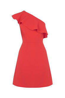 Ruffle One Shoulder Dress - length: mid thigh; pattern: plain; sleeve style: sleeveless; style: asymmetric (top); neckline: asymmetric; predominant colour: coral; occasions: evening, occasion; fit: soft a-line; fibres: polyester/polyamide - 100%; sleeve length: sleeveless; texture group: crepes; bust detail: bulky details at bust; pattern type: fabric; season: s/s 2016; wardrobe: event
