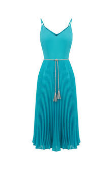Petite Pleated Midi Dress - length: below the knee; neckline: v-neck; sleeve style: spaghetti straps; pattern: plain; waist detail: belted waist/tie at waist/drawstring; predominant colour: turquoise; occasions: evening; fit: body skimming; style: slip dress; fibres: polyester/polyamide - 100%; hip detail: subtle/flattering hip detail; sleeve length: sleeveless; texture group: sheer fabrics/chiffon/organza etc.; pattern type: fabric; season: s/s 2016; wardrobe: event