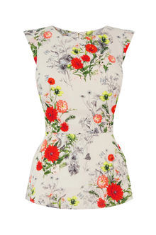 Floral Peplum Top - sleeve style: capped; waist detail: peplum waist detail; predominant colour: white; secondary colour: true red; occasions: casual; length: standard; style: top; fibres: polyester/polyamide - 100%; fit: body skimming; neckline: crew; sleeve length: short sleeve; pattern type: fabric; pattern: florals; texture group: other - light to midweight; pattern size: big & busy (top); multicoloured: multicoloured; season: s/s 2016