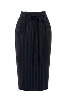 Pinstripe Paperbag Skirt - pattern: plain; style: pencil; fit: body skimming; waist detail: belted waist/tie at waist/drawstring; waist: mid/regular rise; predominant colour: black; occasions: evening; length: on the knee; fibres: polyester/polyamide - mix; pattern type: fabric; texture group: woven light midweight; season: s/s 2016; wardrobe: event