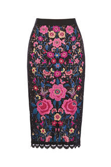 Embroidered Lace Pencil Skirt - length: below the knee; style: pencil; fit: body skimming; waist: mid/regular rise; secondary colour: pink; predominant colour: royal blue; occasions: evening; fibres: viscose/rayon - 100%; texture group: lace; pattern type: fabric; pattern: patterned/print; pattern size: big & busy (bottom); multicoloured: multicoloured; season: s/s 2016; wardrobe: event