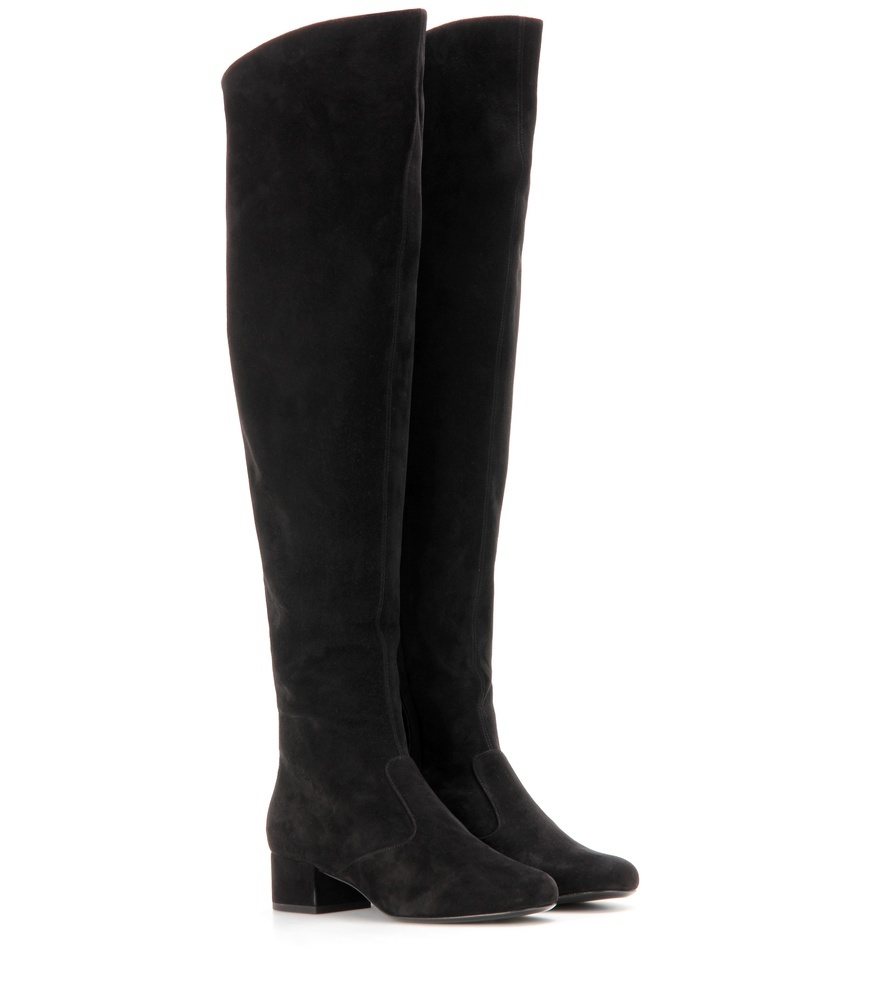 Bb 40 Suede Over The Knee Boots - predominant colour: black; occasions: casual, creative work; material: suede; heel height: mid; heel: block; toe: round toe; boot length: over the knee; style: standard; finish: plain; pattern: plain; season: s/s 2016; wardrobe: investment