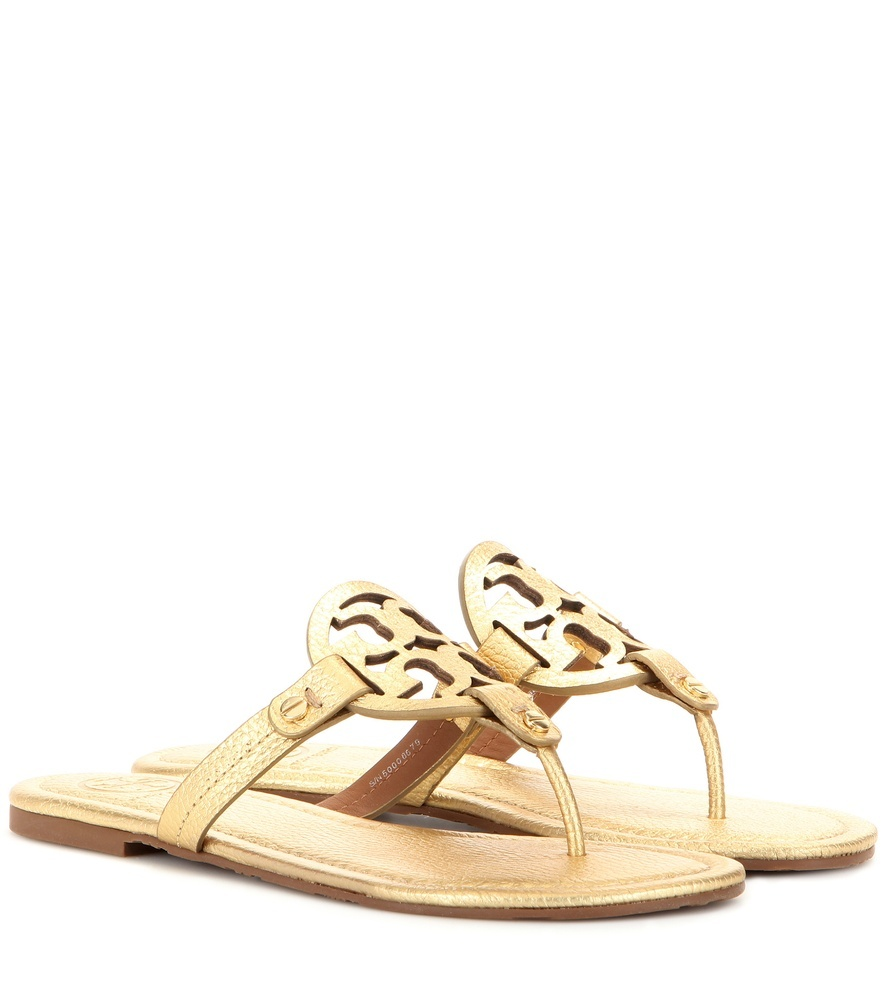 Miller Metallic Leather Sandals - predominant colour: gold; occasions: casual, holiday; material: leather; heel height: flat; heel: block; toe: toe thongs; style: strappy; finish: metallic; pattern: plain; embellishment: chain/metal; season: s/s 2016