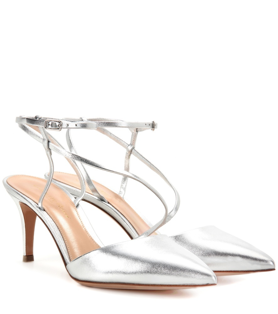 Carlyle Mid Leather Slingback Pumps - predominant colour: silver; occasions: evening, occasion; material: leather; heel height: mid; ankle detail: ankle strap; heel: stiletto; toe: pointed toe; style: slingbacks; finish: metallic; pattern: plain; season: s/s 2016; wardrobe: event