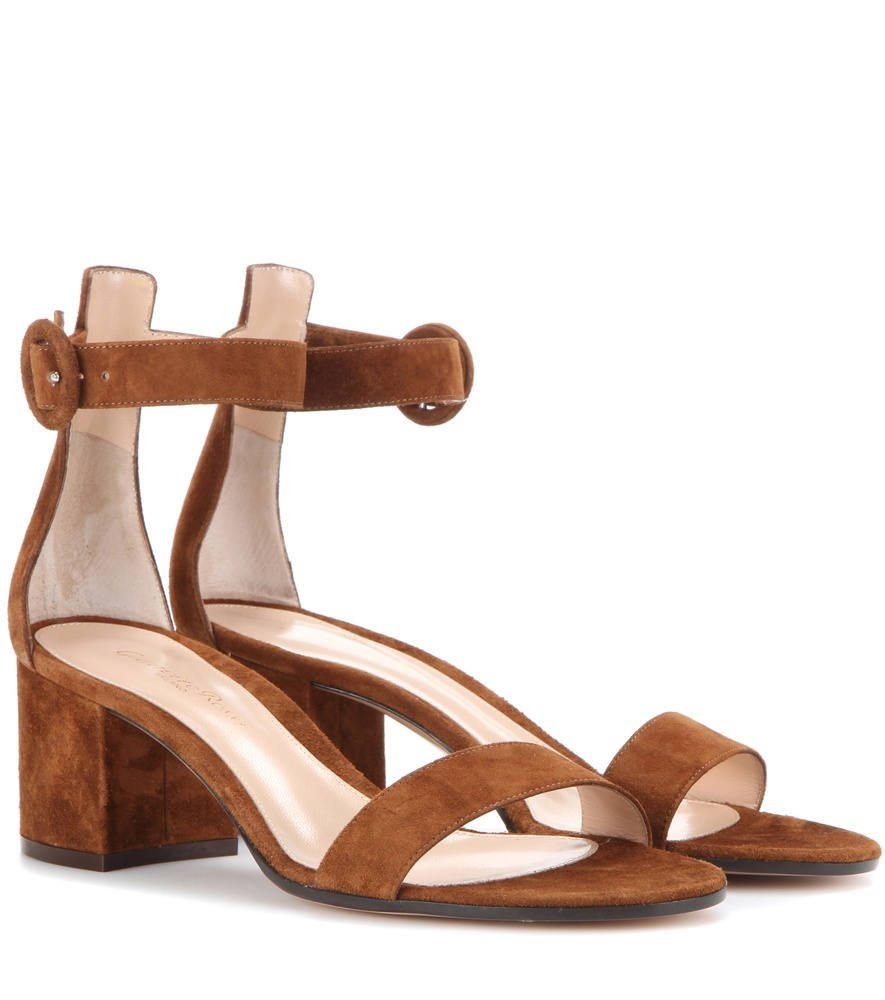 Suede Sandals - predominant colour: tan; occasions: casual, holiday; material: suede; heel height: mid; ankle detail: ankle strap; heel: block; toe: open toe/peeptoe; style: strappy; finish: plain; pattern: plain; season: s/s 2016; wardrobe: highlight